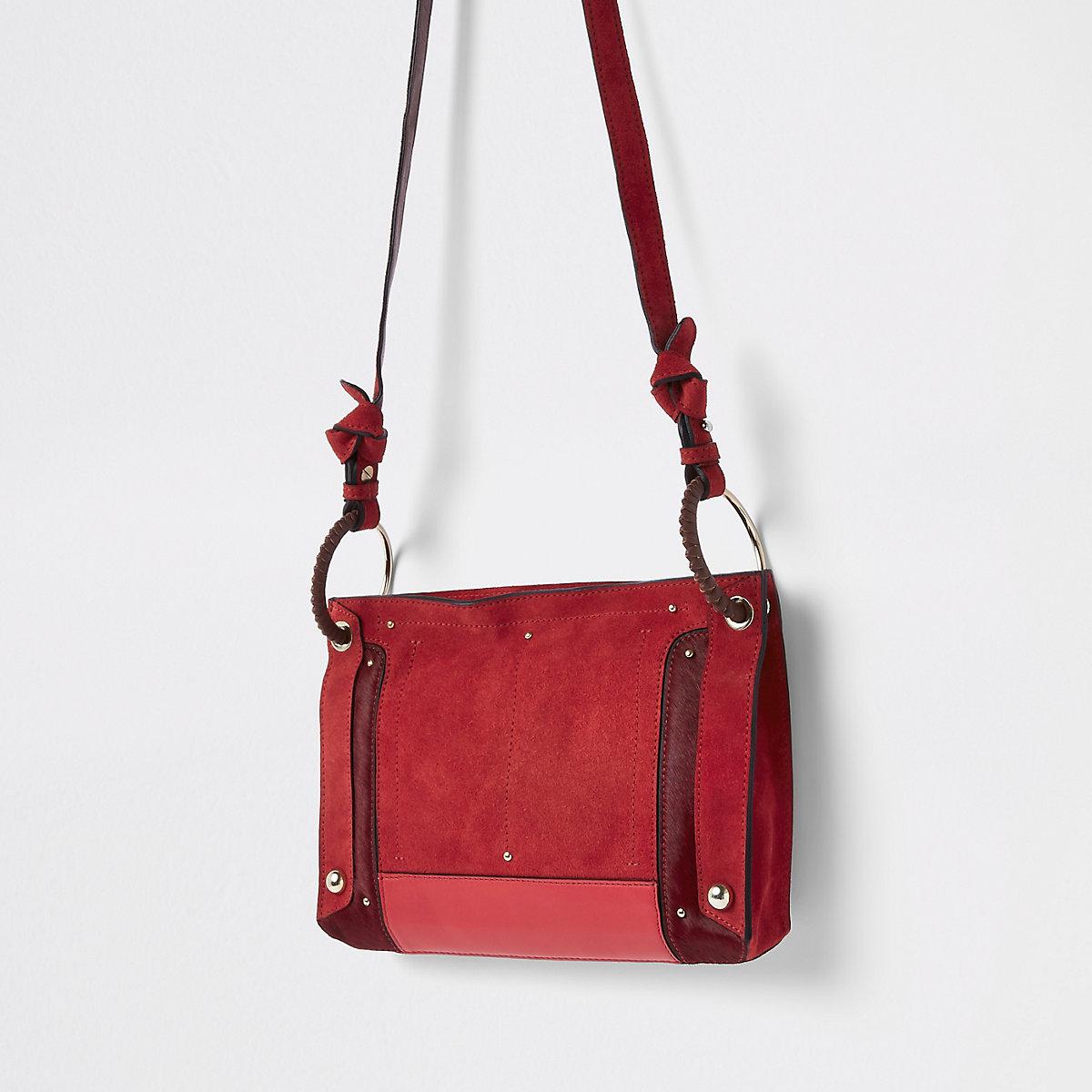 Red leather metal hoop cross body bag
