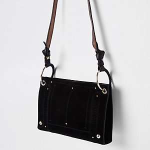 Black leather metal hoop cross body bag