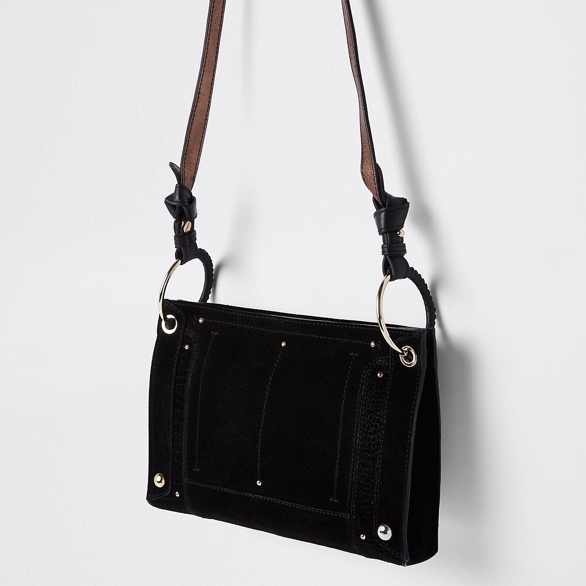 Black leather metal hoop cross body bag