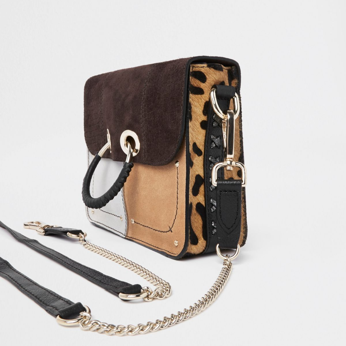 Brown leather cutabout panel cross body bag