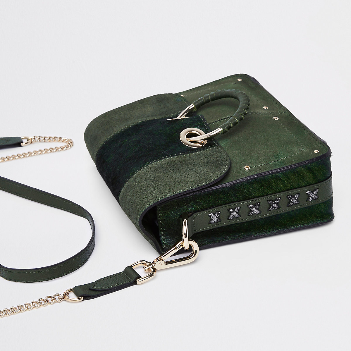 Dark green hoop front cross body bag