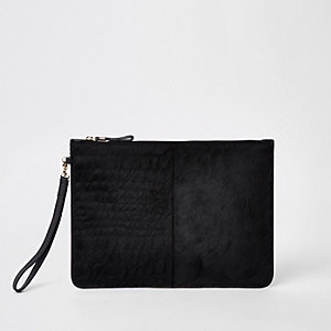 Black leather croc embossed pouch clutch bag