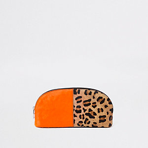 Orange leather leopard print make-up bag