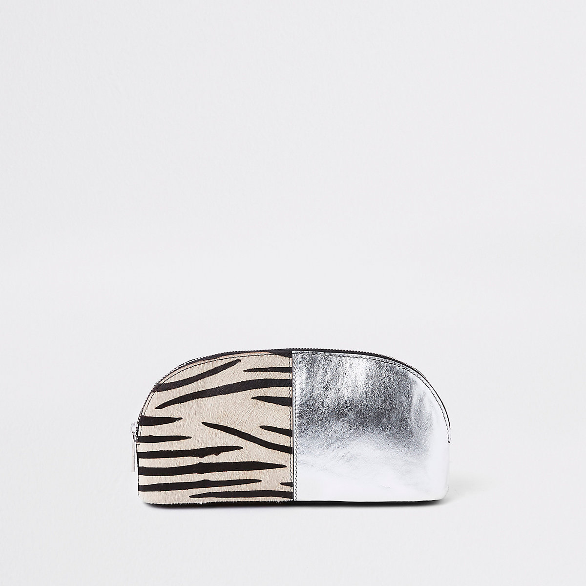 Black leather zebra print make-up bag