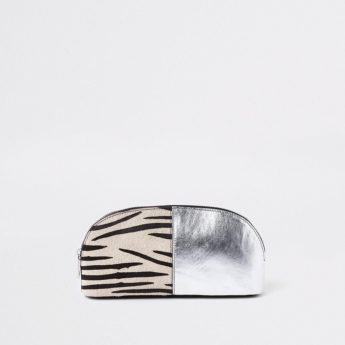 Black leather zebra print make-up bag