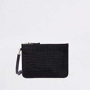 Black leather croc embossed mini pouch bag