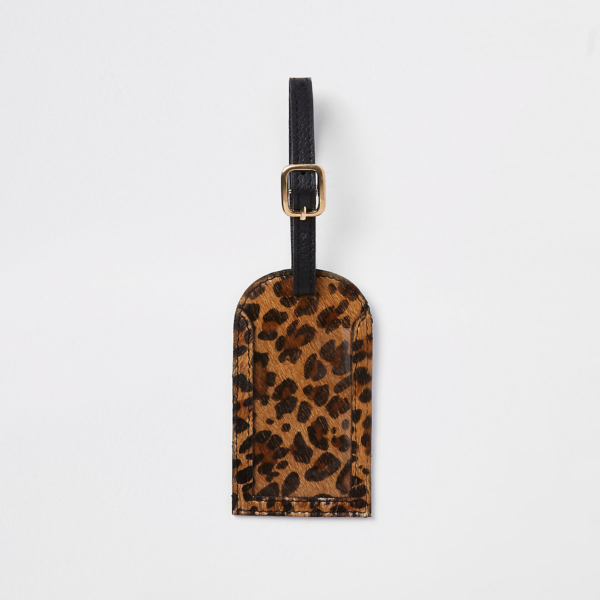 Black leather leopard print luggage tag