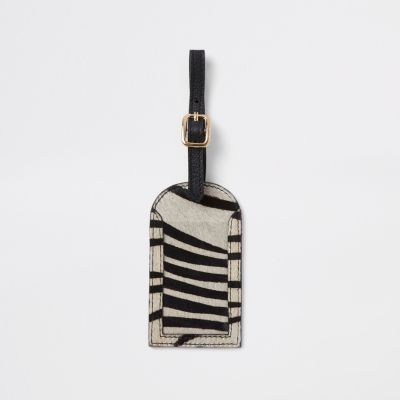 Black Leather Zebra Print Luggage Tag by River Island