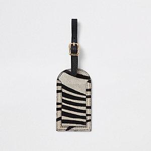 Étiquette pour bagages en cuir imprimé zèbre noire