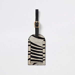 Zwart leren bagagelabel met zebraprint