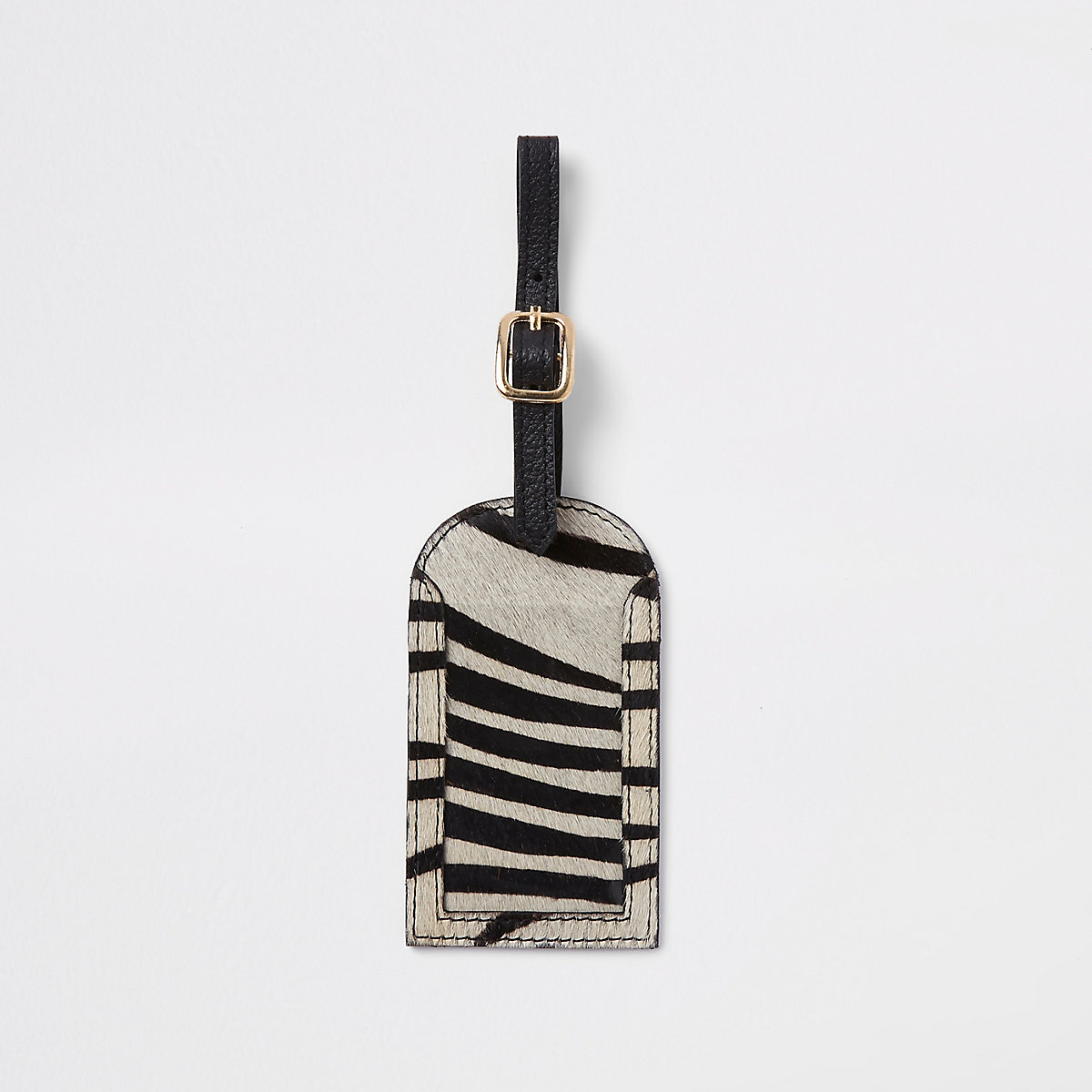 Black leather zebra print luggage tag