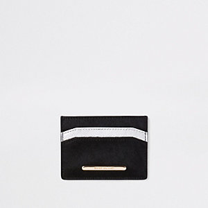 Black leather silver tone card holder