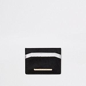 Porte-cartes en cuir noir et argenté