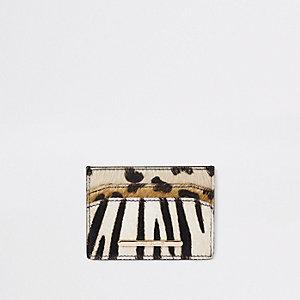 Porte-cartes en cuir à imprimés mélangés marron