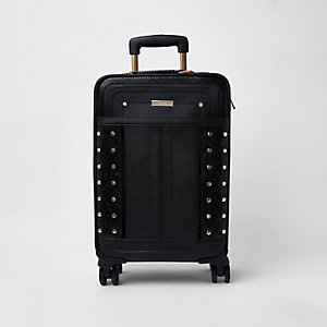 Black snake print studded suitcase
