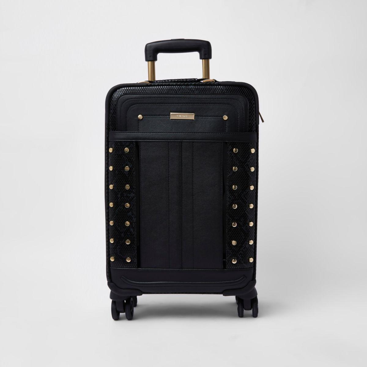 Black snake print studded suitcase