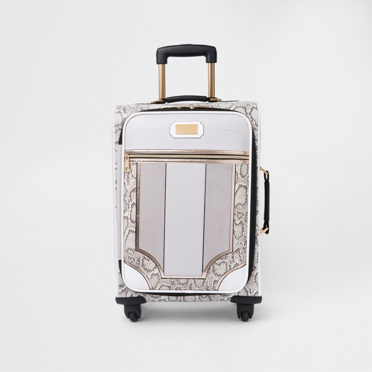 Grey snake skin panel four wheel suitcase
