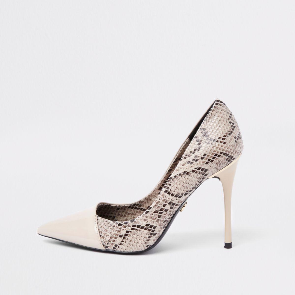 Beige snake skin wrap around court shoes