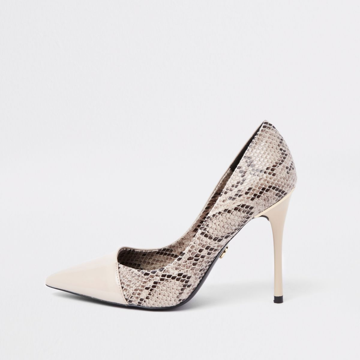 Beige snake skin wrap around pumps