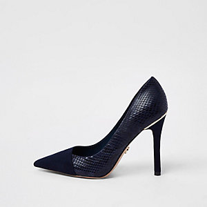 Navy croc wrap around pumps