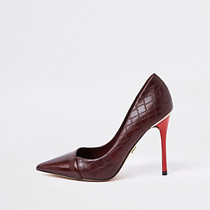 Dark red croc print wrap around pumps