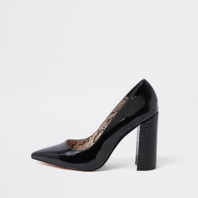 Black Wrap Around Block Heel Court Shoes by River Island