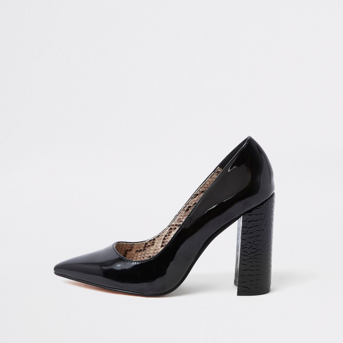Black wrap around block heel pumps