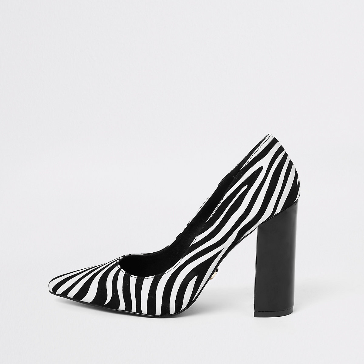 Black zebra print block heel court shoes