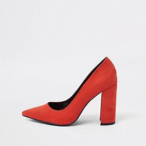 Red wrap around block heel court shoes