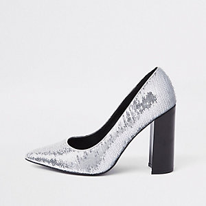 Silver sequin wrap around pumps