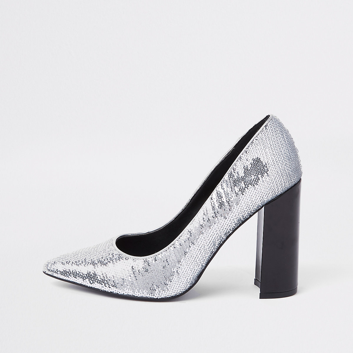 Silver sequin wrap around court shoes