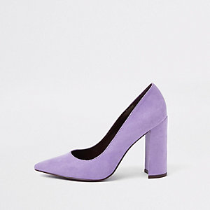 Light purple block heel pumps