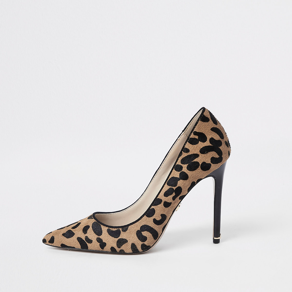 Brown leather leopard print court shoes