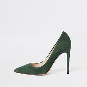 Green suede pumps