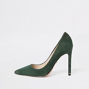 Escarpins en daim vert