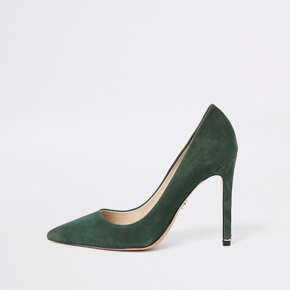 Green suede pumps