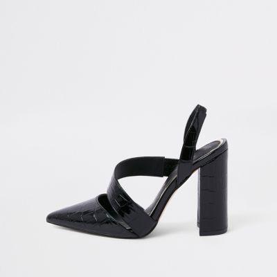 Black Croc Asymmetric Block Heel Court Shoes by River Island