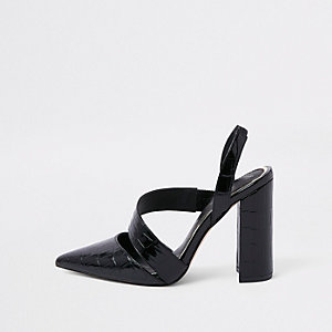 Black croc asymmetric block heel court shoes