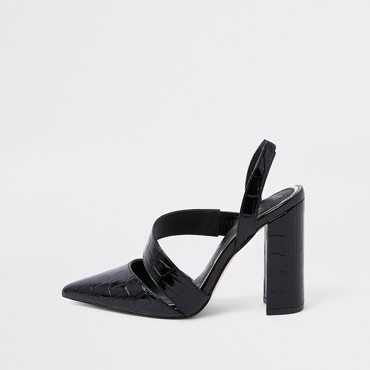 Zwarte pumps met krokodillenprint en asymmetrische blokhak