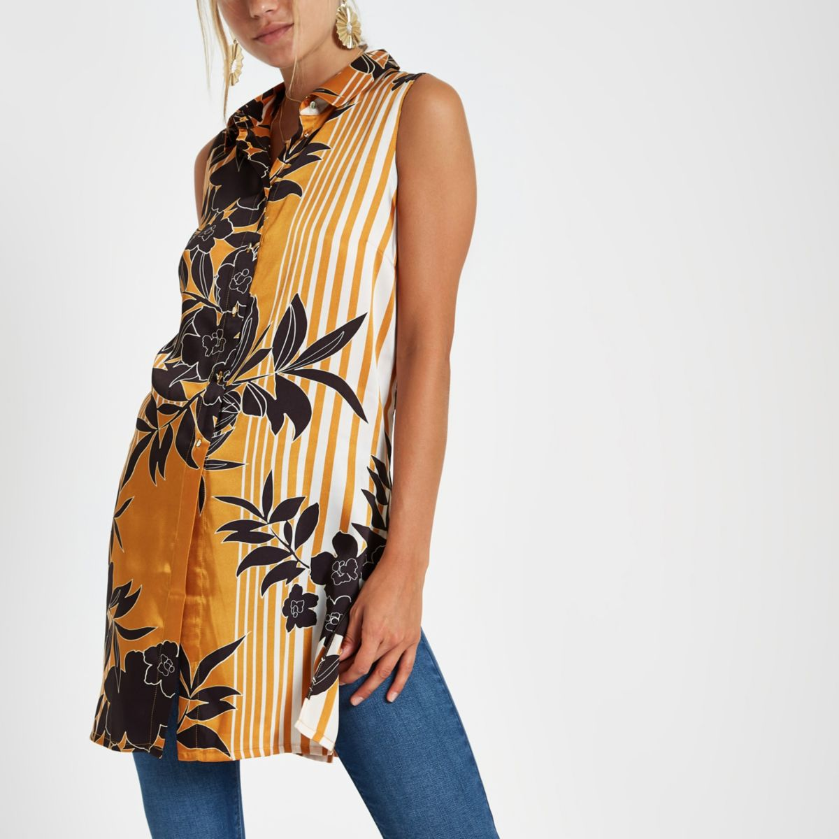Orange floral sleeveless longline shirt