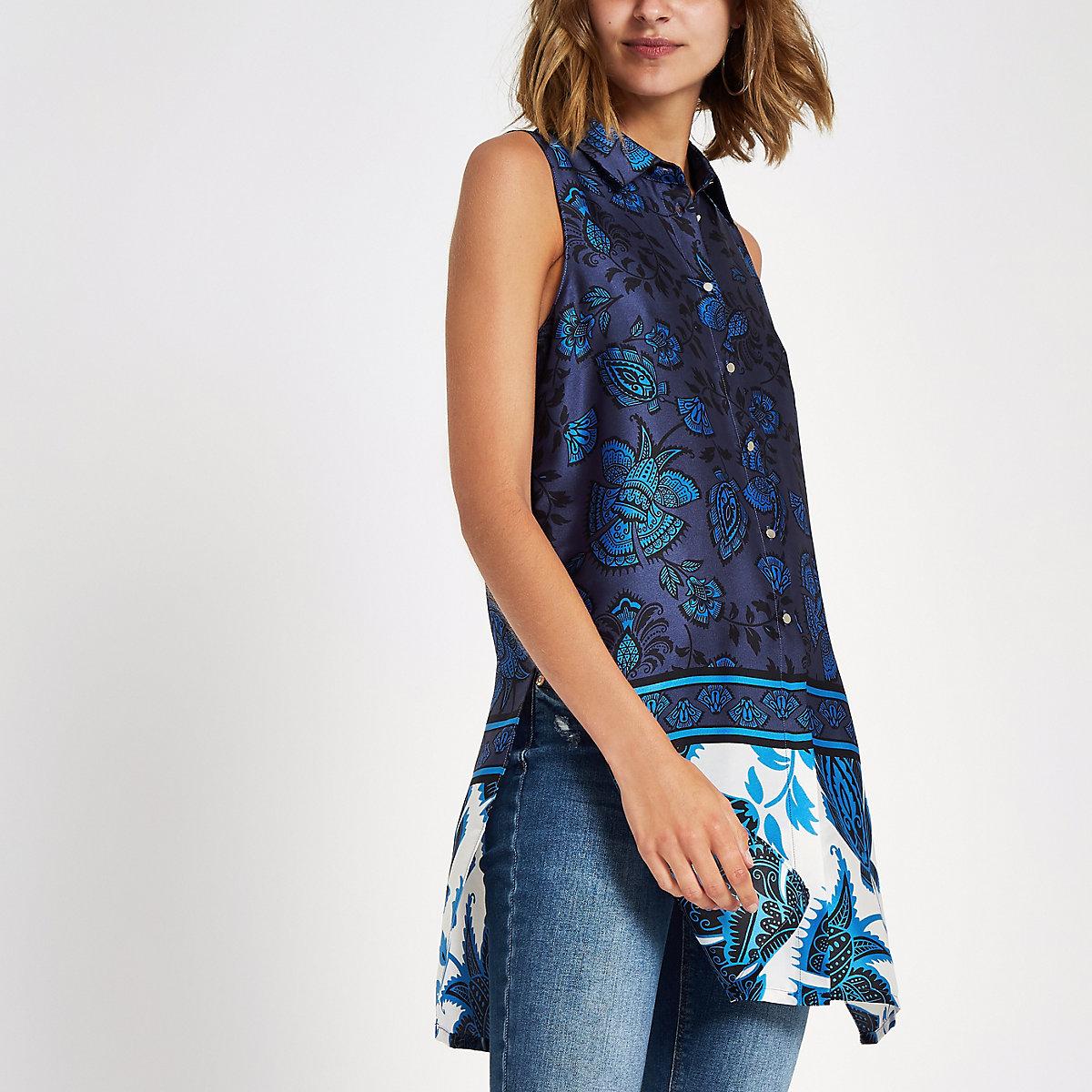Blue floral sleeveless longline shirt