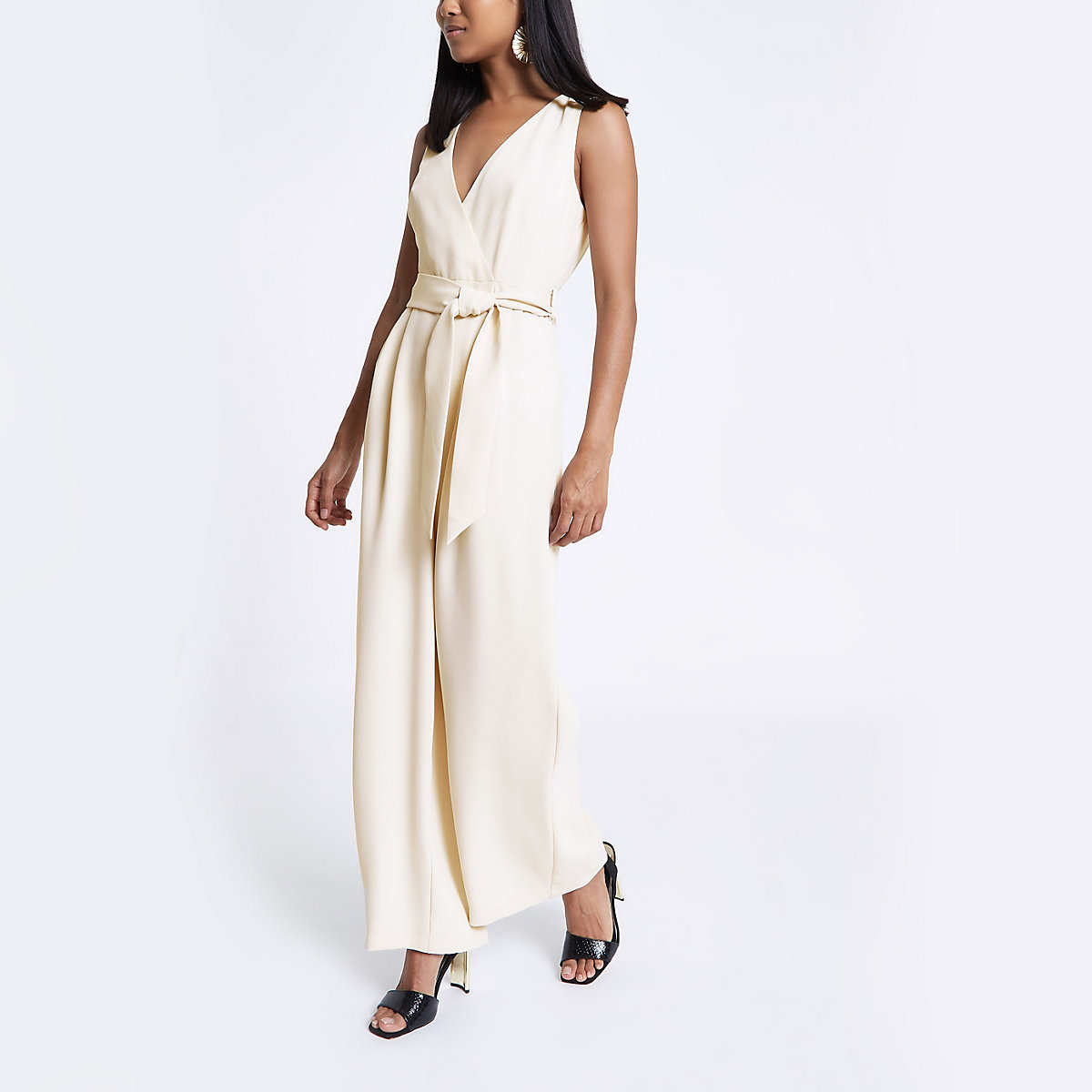 Petite beige tie waist wide leg jumpsuit