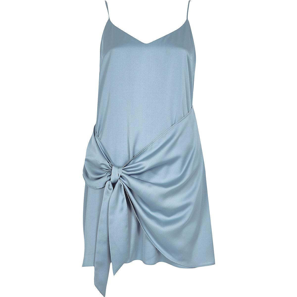 Petite blue tie front cami slip dress