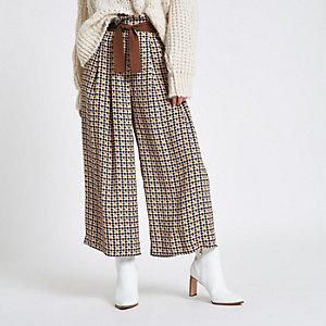 Petite – Pantalon large à carreaux marron ceinturé