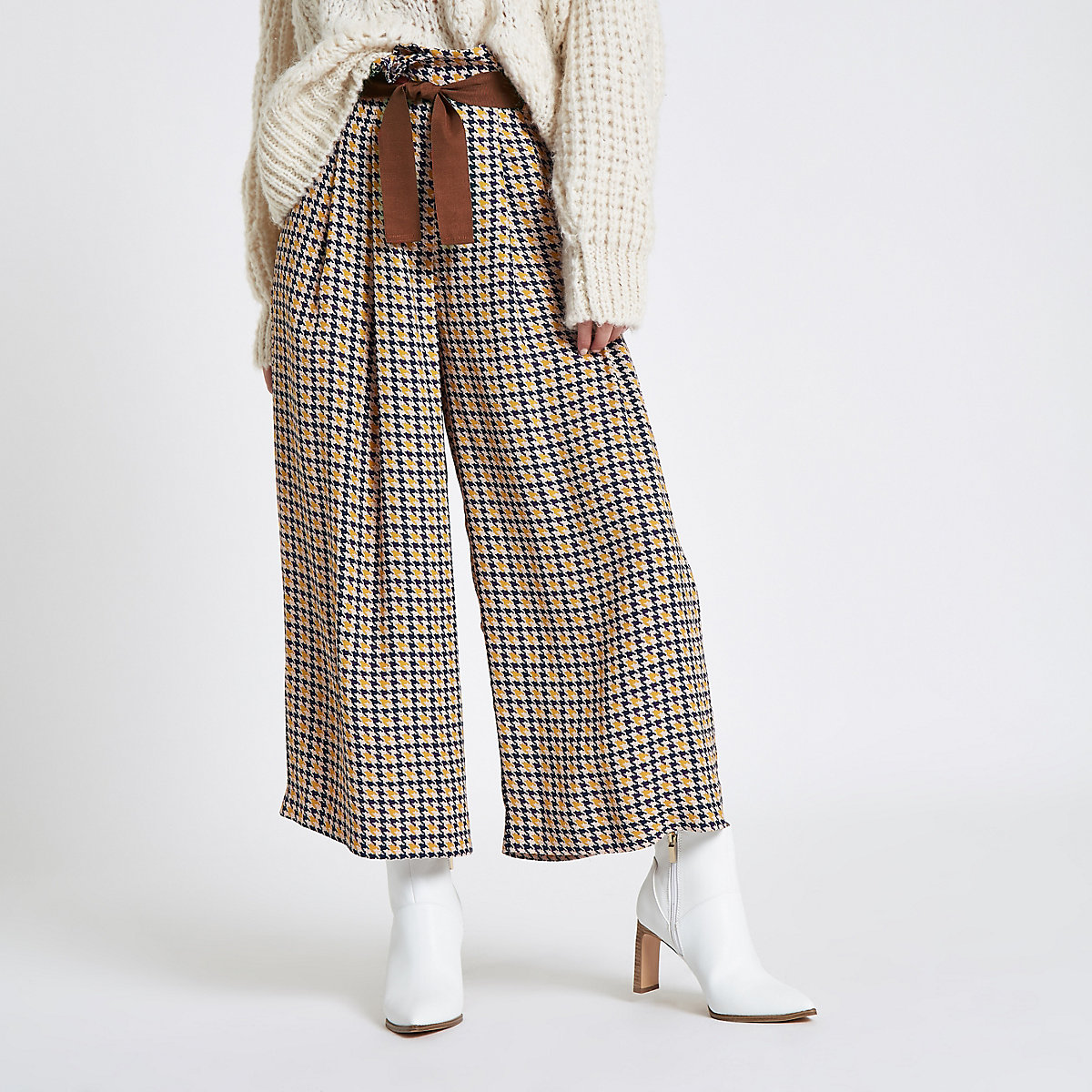 Petite brown check wide leg belted pants