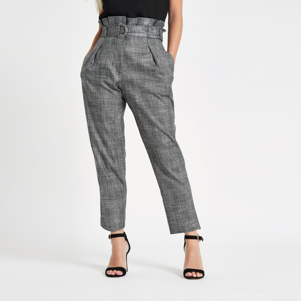 Petite grey check paperbag tapered pants