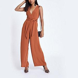 Petite rust tie waist wide leg jumpsuit