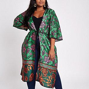 RI Plus - Groene kimono met bloemenprint en strik voor