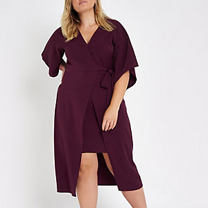 Plus red wrap front kimono sleeve midi dress