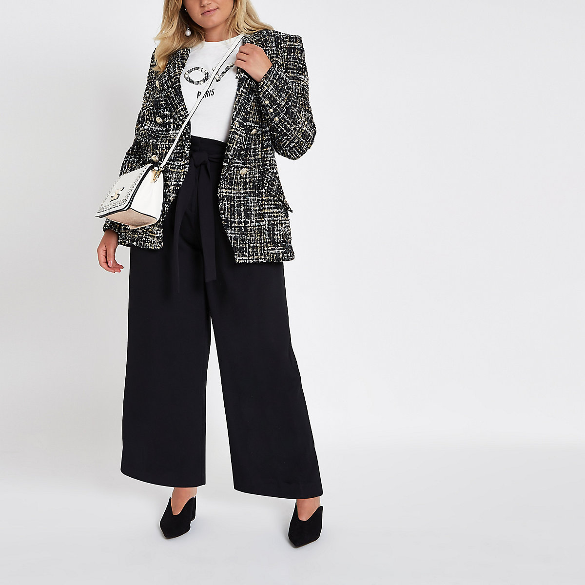 Plus black paperbag wide leg pants